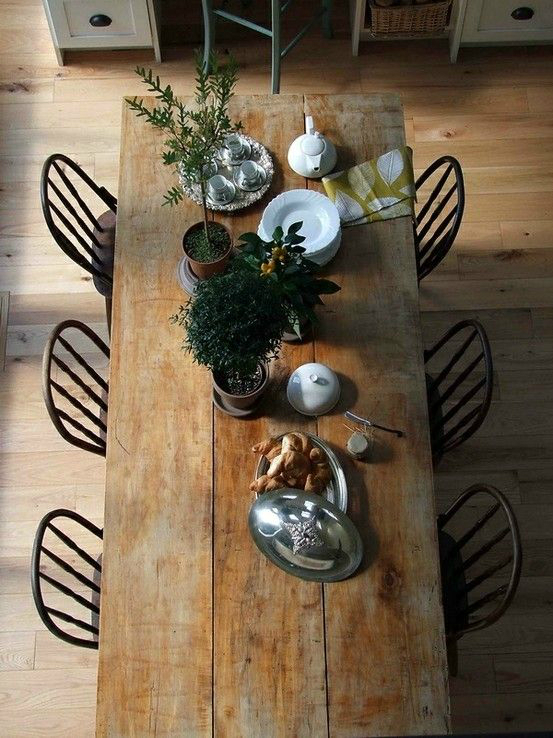 9. A Rustic Wooden Table