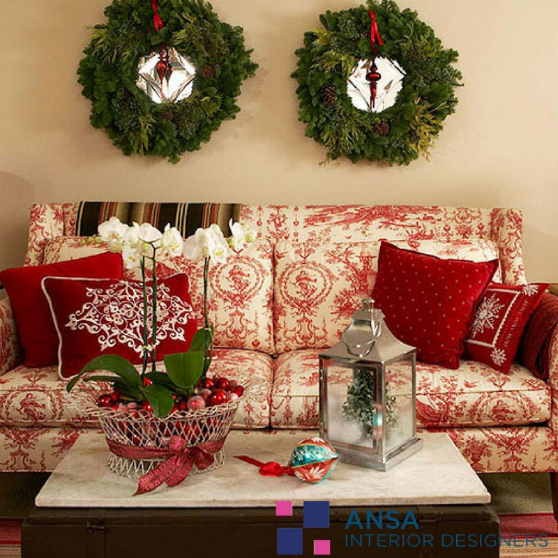 Living Room with Christmas Interior Decoration