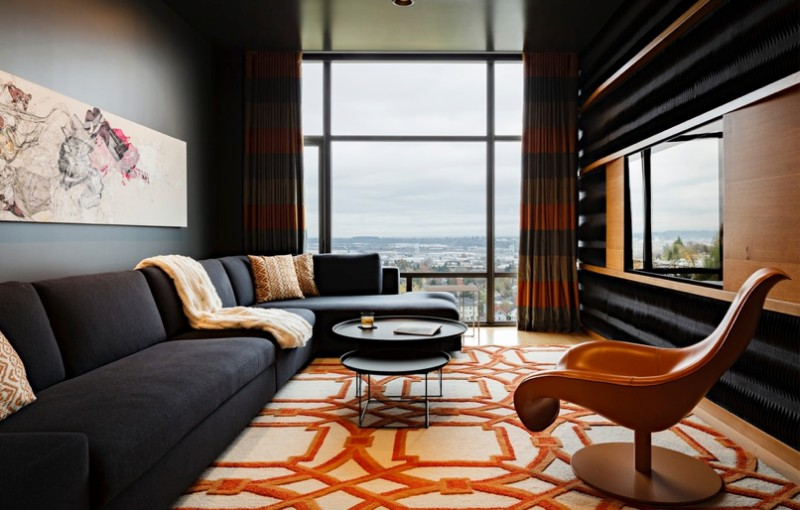 Area Rug featuring with Orange