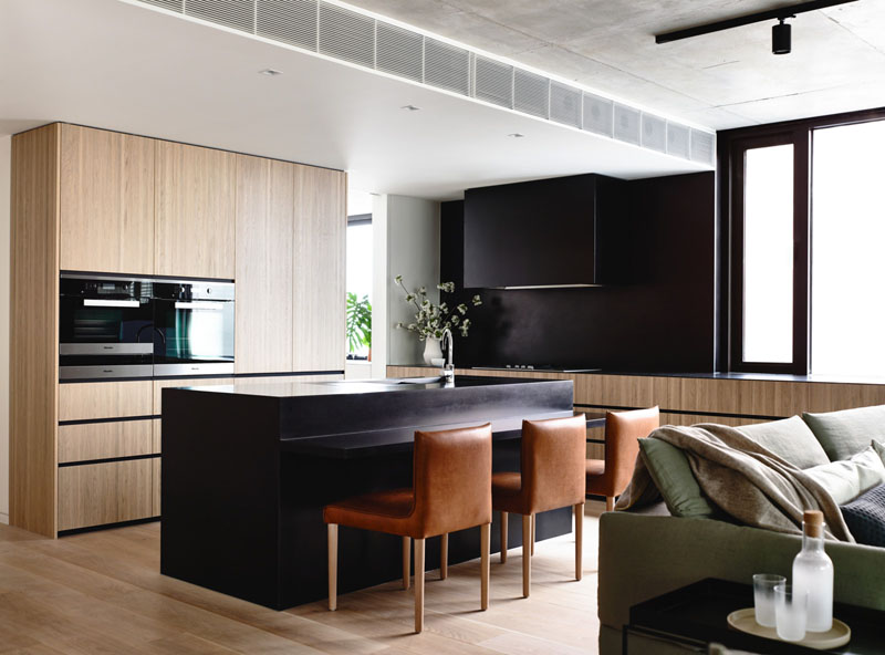 small kitchen interior design with Integrated Fridge