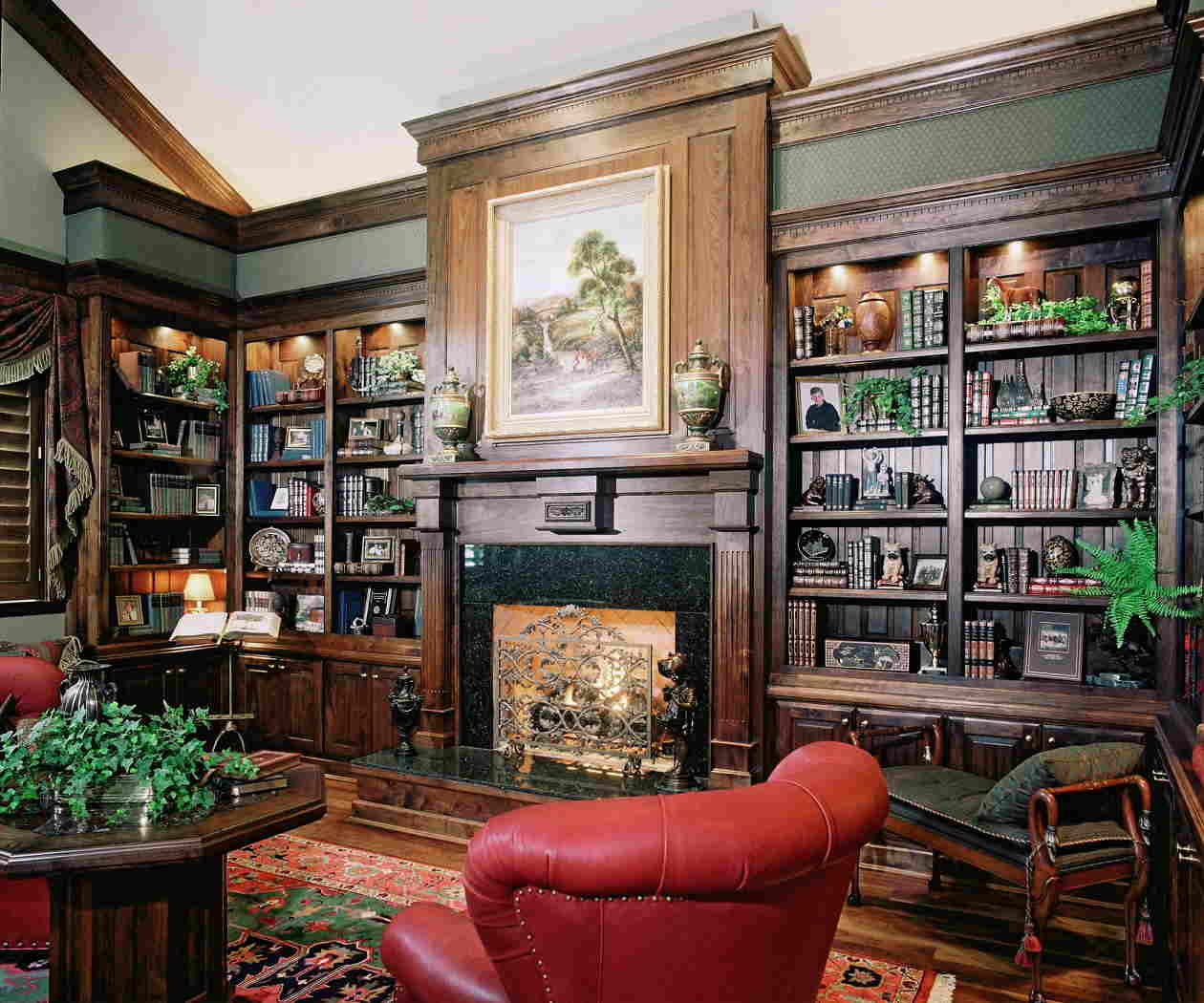 Classic home library decor ansa interior designers for Classic home interior decoration