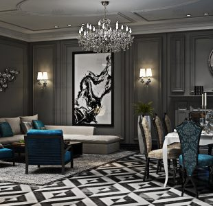 Black and white beauty. Drawing room done at Palam Vihar.