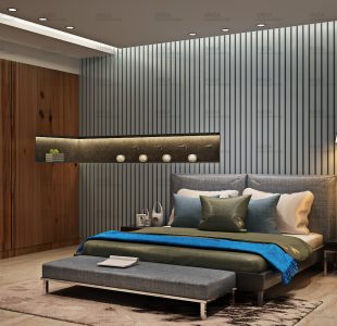 The blue and grey bedroom for a bachelor at vikaspuri.