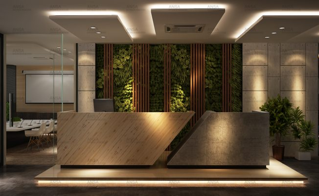 Top office interior designers work - Reception of a office at greater Noida.