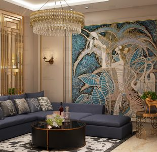 The blue and gold drawing room design that alaknanda.