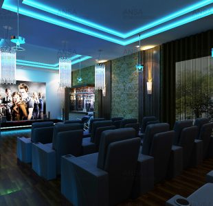 The icy blue home theater designed at rajouri Garden.