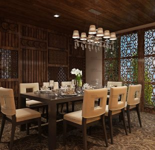 Inside Out. The dining room interiors opening the outside inside at Gulmarg.