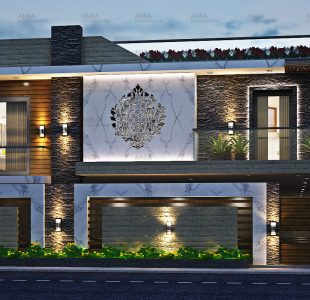 The residential facade design at chandigarh.