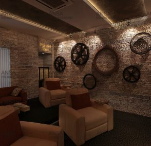 The Mesopotamian age home theater designed at janakpuri.