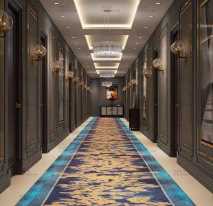 The hallway of a hotel at nainital.