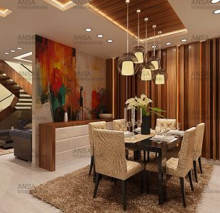 luxury dining room interior design in delhi attached with drawing room