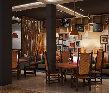 Coffee and tea bar restaurant interior design at Janakpuri.
